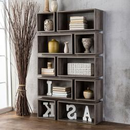 10 Shelf Bookcase Grey Bookshelf Office Storage Living Room
