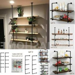 3/4/5 Tier Industrial Retro Wall Mount Iron Pipe Storage She