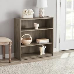 3 Shelf Bookcase Rustic Oak Small Bookshelf Short Wooden Com