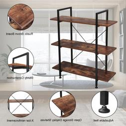 3-Tier Industrial Bookcase Storage Display Rack Bookshelf Ho