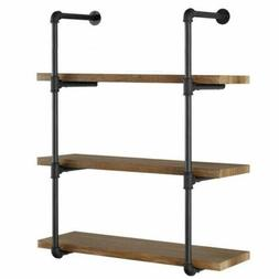 3 tier vintage industrial iron pipe wall