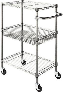 Alera 3-Tier Wire Rolling Cart 24 X 16 X 39 Black Anthracite
