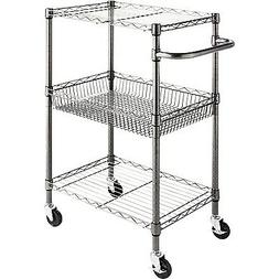 "Alera 3-Tier Wire Rolling Cart 24"" x 16"" x 39"" Black Anthrac"