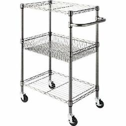 "Alera 3-Tier Wire Rolling Cart, 24"" x 16"" x 39"" Black Anthra"