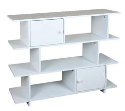 Home Basics 3 Tier Wood Book Shelf with 2  Cabinet Doors, Wh