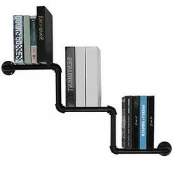 MyGift 36-Inch Industrial Black Pipe Staircase Book Shelf