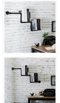 MyGift 36-Inch Industrial Black Pipe Staircase Wall Mounted