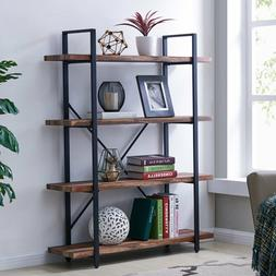 Homissue 4-Tier Industrial Style Bookshelf, Wood and Metal B