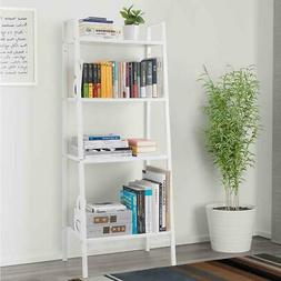 4-Tier Bookcase Bookshelf Leaning Wall Shelf Ladder Storage