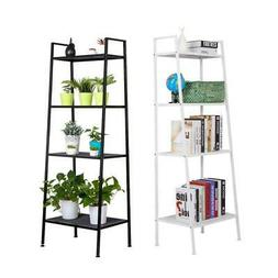 4-Tier Durable Bookcase Bookshelf Leaning Wall Shelf Shelvin