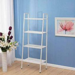 4 Tier Layer Metal Wire Leaning Ladder Bookcase Bookshelf St
