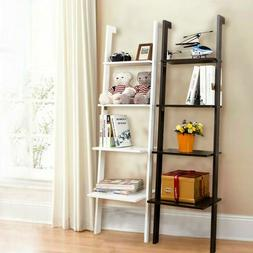 White 4 Tiers Bookcase Bookshelf Leaning Wall Plant Shelf La