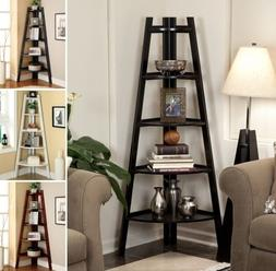 5 Tier Corner Shelf Display Stand Bookshelf Ladder White Esp