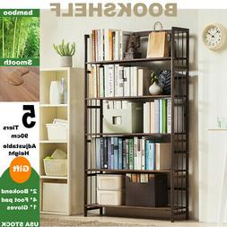 5 tier open bookshelf storage cabinet rack