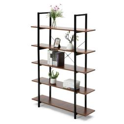 5 Tiers Bookcase Wood And Metal Bookshelf Home Office Organi