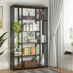 "6 Shelf Black Rustic Bookshelf with Side Metal Mesh 70.87"" M"