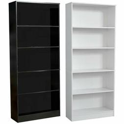 71 Inch Tall 5-Shelf Bookcase, Classic Black or White, Large