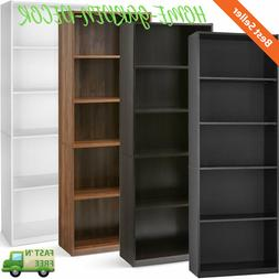 "71"" Tall 5-Shelf Bookcase Closed Back Adjustable Wood Booksh"