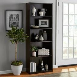 "71"" Tall 5-Shelf Standard Bookcase Closed Back Adjustable St"
