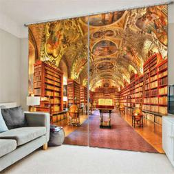 American style Library Bookshelf 3D Curtain Blockout Photo P