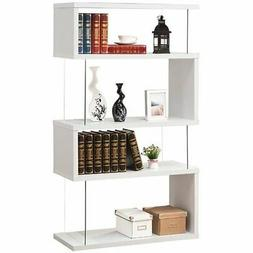Bowery Hill 4 Shelf Asymmetrical Snaking Bookcase in Glossy