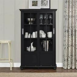 Black Barrister Glass Door Bookcase Bookshelf Wood Cabinet D