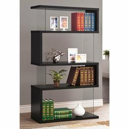 Black Wood Glass Modern Bookcase Bookshelf Shelf Display Liv