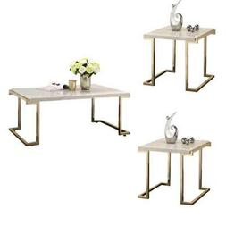 Boice II 3 Piece Modern Coffee Table and 2 End Tables Set in