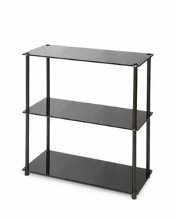 Convenience Concepts Book Rack - 3 Tier - Black Shelf - Glas