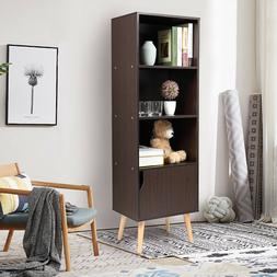 Bookcase 4-Shelf Storage Cabinet Leaning Wall Shelving Book