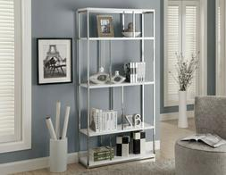 """Monarch Specialties  Bookcase 72""""H / Glossy White With Chrom"""