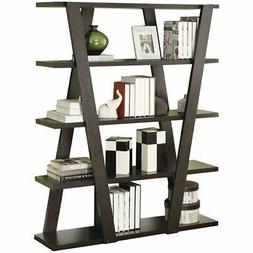 Bowery Hill 4 Shelf Bookcase with Inverted Supports in Cappu