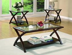 """3pc Coffee Table Set with """"X"""" Base in Rich Cappuccino Finish"""