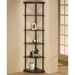 Bowery Hill Corner Bookshelf with 5 Shelves in Cappuccino