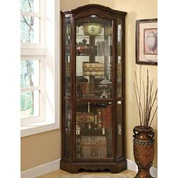 Corner Curio Cabinet with Shaped Crown  Base by Coaster