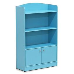 FURI-FR16121LB-Furinno FR16121 KidKanac Light Blue Bookshelf