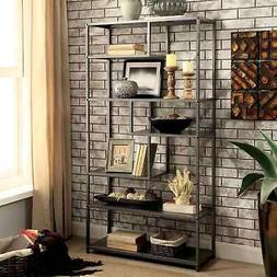 Dark Grey Industrial Metal Tiered Bookshelf ~ Open Back Disp