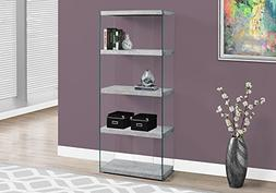 Monarch specialties I 3233, Bookcase, Tempered Glass, Grey C