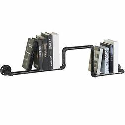 MyGift Industrial Black Metal Pipe Design Wall-Mounted Books