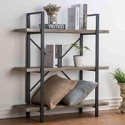 Industrial Bookshelf Metal Wood Rustic 3 Shelf Bookcase Stor