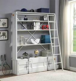 Industrial Bookshelf with Ladder in White