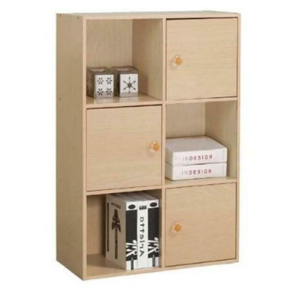 3-Tier Shelf With 3 Doors Cabinet Storage Wooden Bookcase Di