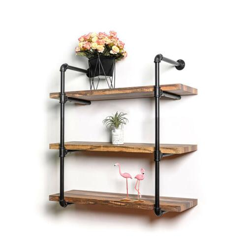 3 Tier Vintage Iron Pipe Wall Shelves Storage