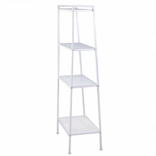 4-Tier Bookcase Leaning Wall Shelf Display Furniture