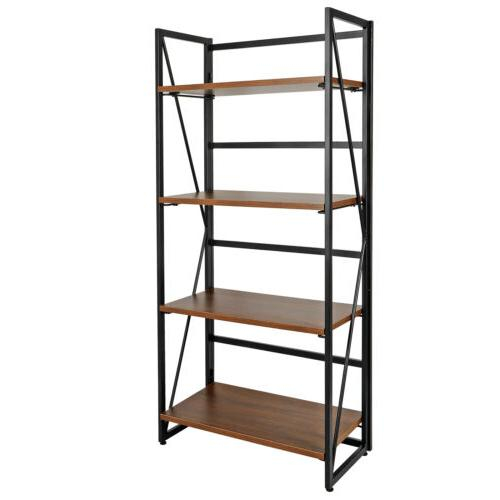 4 Tier Folding Bookshelf Storage Shelves Foldable Stackable
