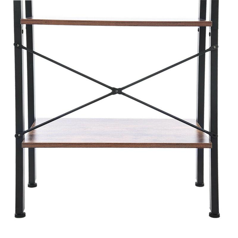 4-Tier Ladder Bookshelf Rack Shelving Display Decor