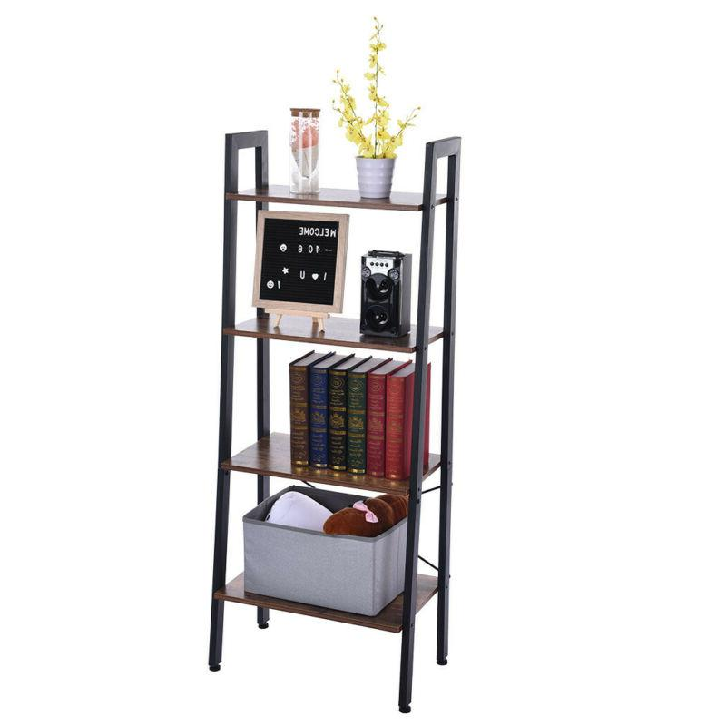 4-Tier Bookshelf Rack Leaning Shelving Display