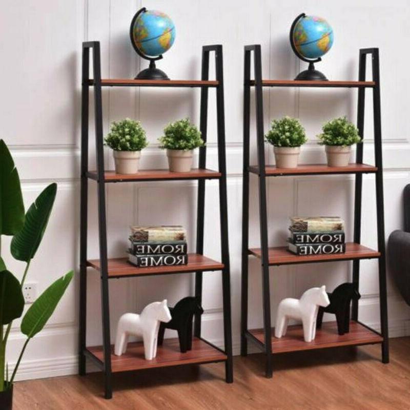 4 tier ladder bookshelf storage rack leaning
