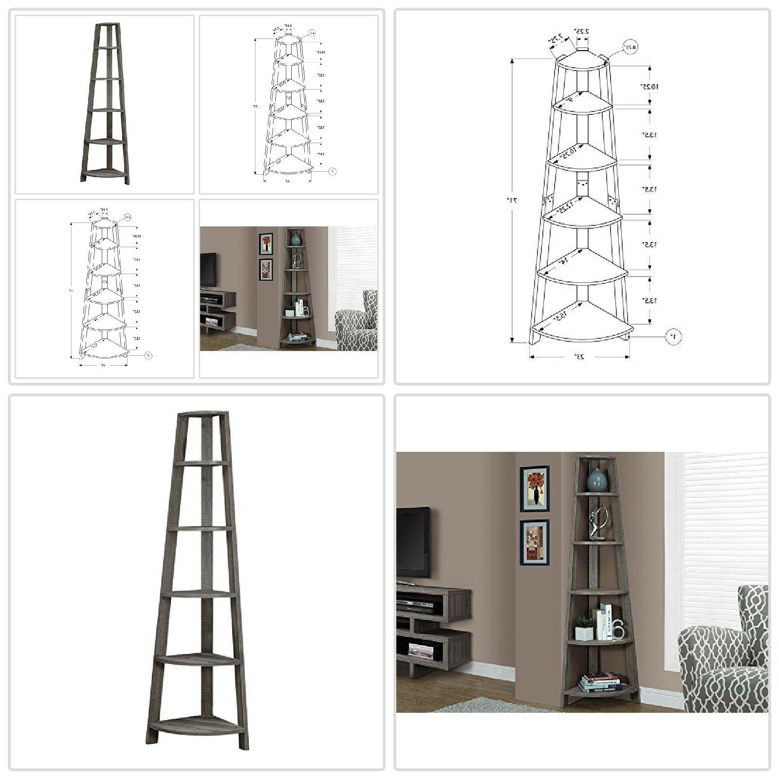 5 Bookcase Leaning Wall Ladder Storage Display