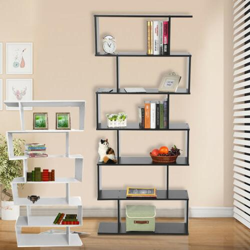 6-Tier WOOD BOOKCASE Storage Shelving S Shape Bookshelf Offi